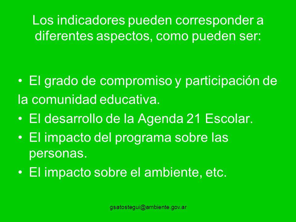 gsatostegui@ambiente.gov.ar Los indicadores pueden corresponder a diferentes aspectos, como pueden ser: El grado de compromiso y participación de la comunidad educativa.
