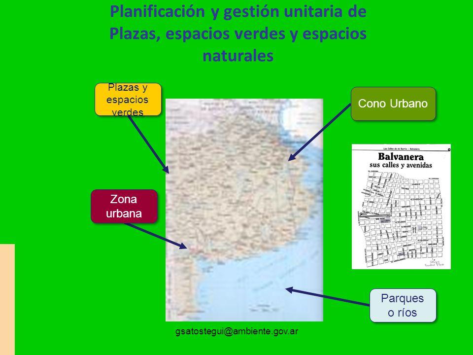gsatostegui@ambiente.gov.ar Planificación y gestión unitaria de Plazas, espacios verdes y espacios naturales Parques o ríos Cono Urbano Plazas y espacios verdes Zona urbana