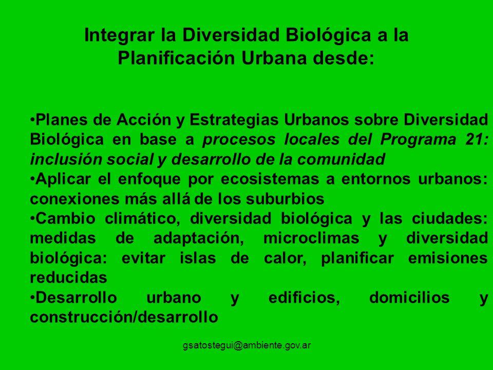 gsatostegui@ambiente.gov.ar Integrar la Diversidad Biológica a la Planificación Urbana desde: Planes de Acción y Estrategias Urbanos sobre Diversidad