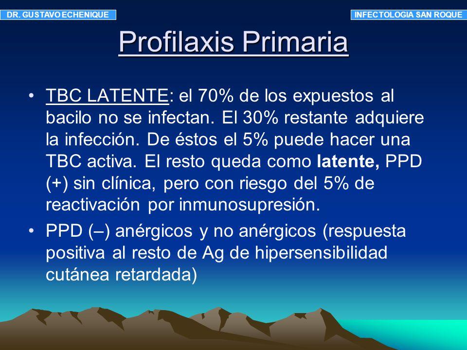 La quimioprofilaxis TBC está aconsejada en: 1- PPD (+) 2- PPD (-) anérgicos 3- VIH+ con contacto bacilífero 4- viraje del PPD Factores a valorar para iniciar sin PPD: lesiones fibróticas en Rx de tórax, desnutrición severa, sociopatía, colectividades cerradas, historia de adicción a drogas, tratamiento inmunosupresor.