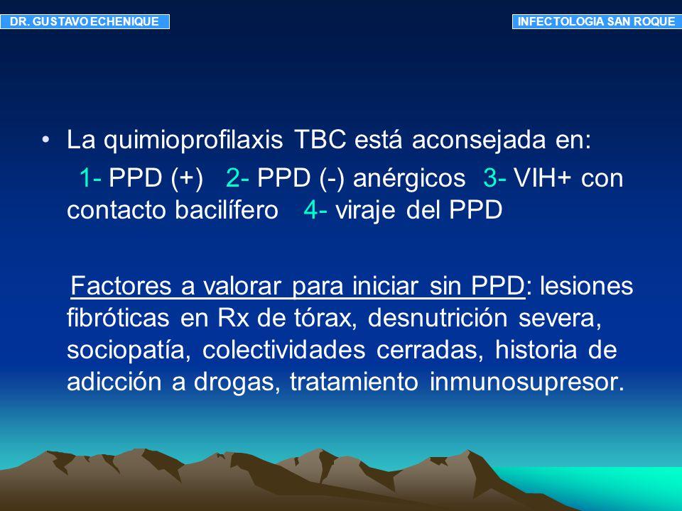 Requisitos importantes antes de iniciar: Descartar TBC activa Excluir a los que hayan realizado antes profilaxis correcta.