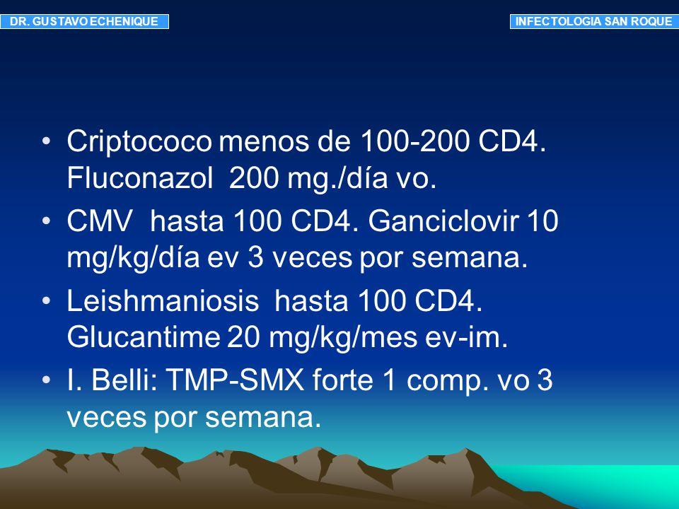 Criptococo menos de 100-200 CD4. Fluconazol 200 mg./día vo. CMV hasta 100 CD4. Ganciclovir 10 mg/kg/día ev 3 veces por semana. Leishmaniosis hasta 100