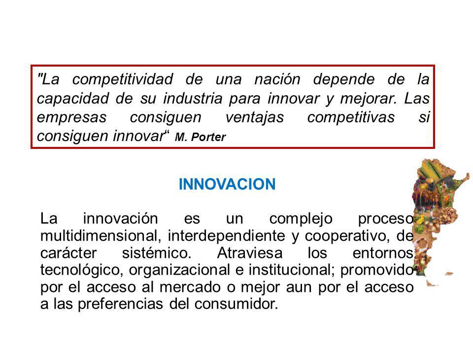 INNOVACION La innovación es un complejo proceso multidimensional, interdependiente y cooperativo, de carácter sistémico. Atraviesa los entornos tecnol