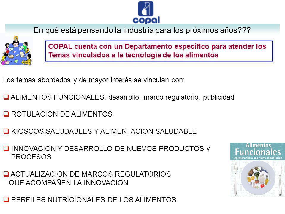 COPAL cuenta con un Departamento específico para atender los Temas vinculados a la tecnología de los alimentos Los temas abordados y de mayor interés