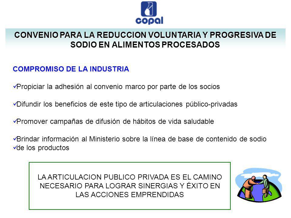 CONVENIO PARA LA REDUCCION VOLUNTARIA Y PROGRESIVA DE SODIO EN ALIMENTOS PROCESADOS COMPROMISO DE LA INDUSTRIA Propiciar la adhesión al convenio marco