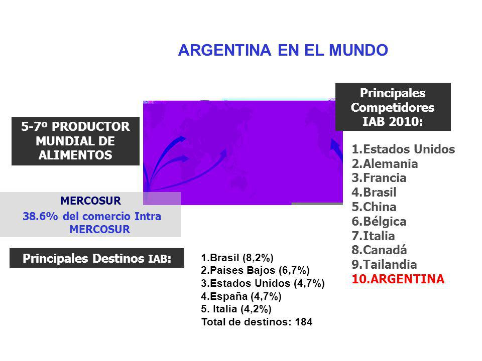 MERCOSUR 38.6% del comercio Intra MERCOSUR Principales Competidores IAB 2010: 1.Estados Unidos 2.Alemania 3.Francia 4.Brasil 5.China 6.Bélgica 7.Itali