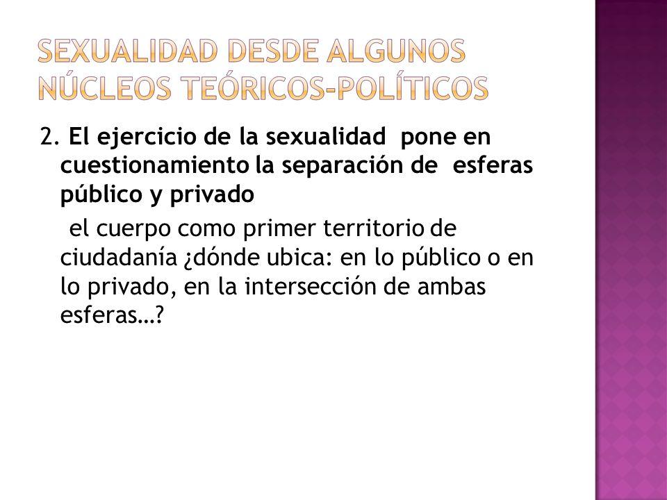 2. El ejercicio de la sexualidad pone en cuestionamiento la separación de esferas público y privado el cuerpo como primer territorio de ciudadanía ¿dó