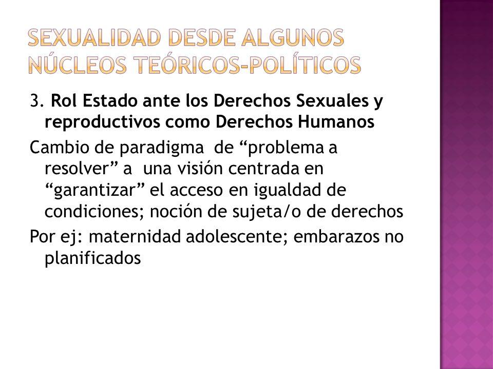 3. Rol Estado ante los Derechos Sexuales y reproductivos como Derechos Humanos Cambio de paradigma de problema a resolver a una visión centrada en gar