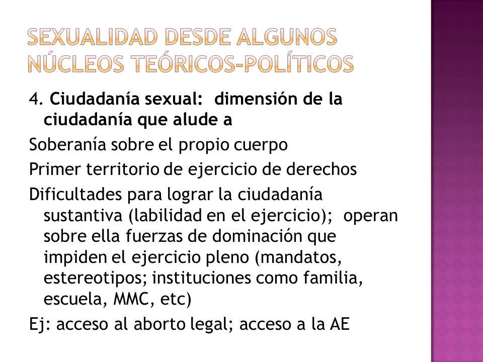 4. Ciudadanía sexual: dimensión de la ciudadanía que alude a Soberanía sobre el propio cuerpo Primer territorio de ejercicio de derechos Dificultades