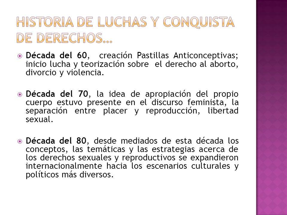 Década del 60, creación Pastillas Anticonceptivas; inicio lucha y teorización sobre el derecho al aborto, divorcio y violencia.