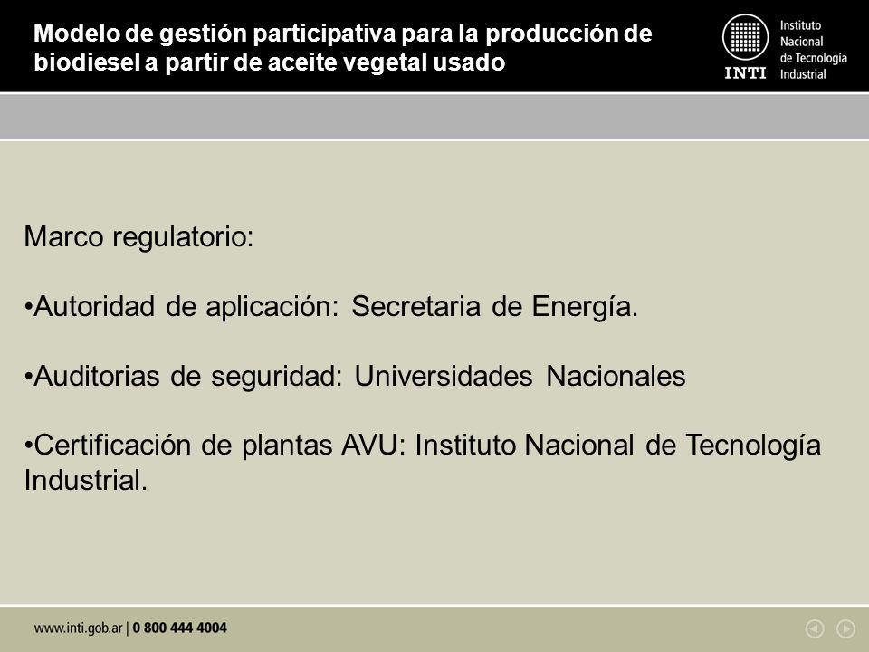 Modelo de gestión participativa para la producción de biodiesel a partir de aceite vegetal usado Marco regulatorio: Autoridad de aplicación: Secretaria de Energía.