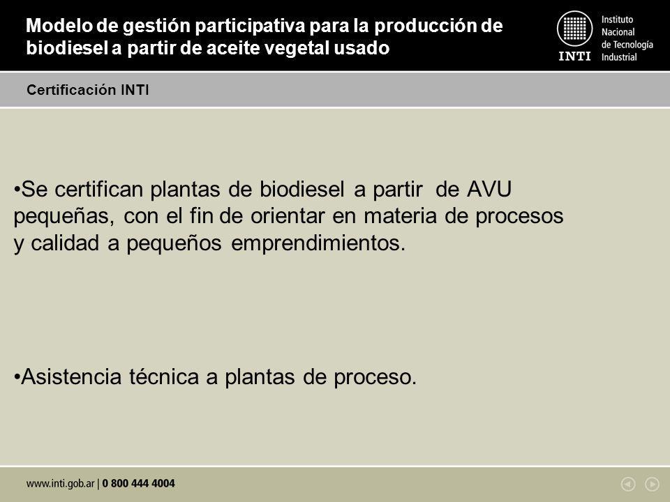Modelo de gestión participativa para la producción de biodiesel a partir de aceite vegetal usado Se certifican plantas de biodiesel a partir de AVU pequeñas, con el fin de orientar en materia de procesos y calidad a pequeños emprendimientos.