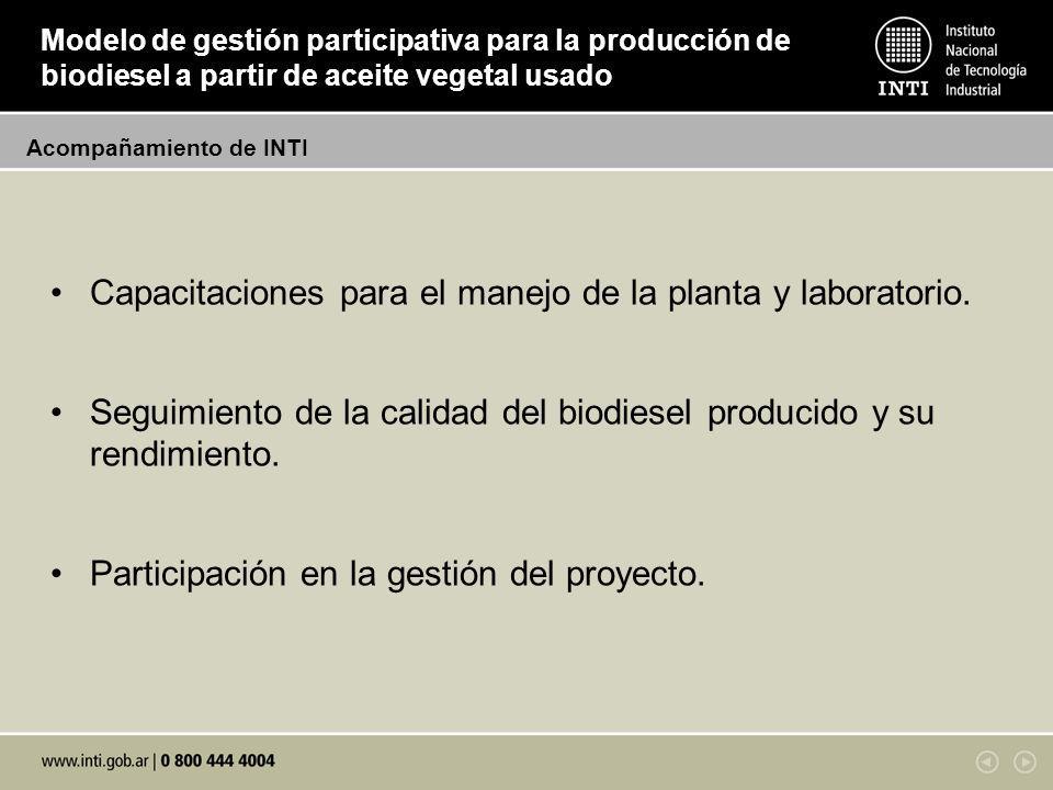 Acompañamiento de INTI Modelo de gestión participativa para la producción de biodiesel a partir de aceite vegetal usado Capacitaciones para el manejo de la planta y laboratorio.