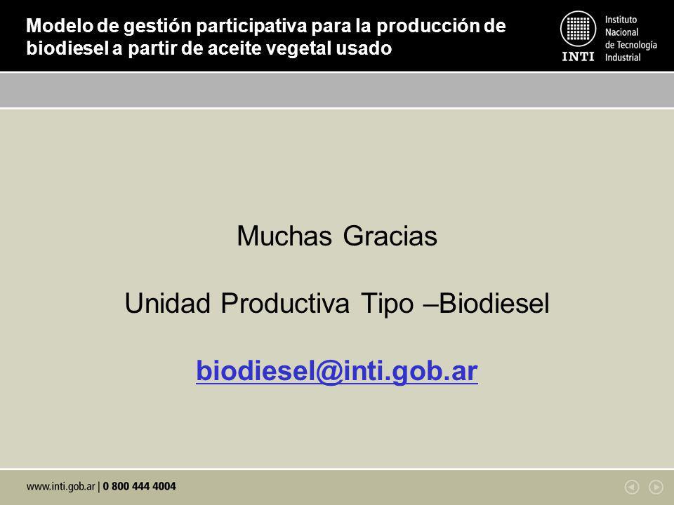 Muchas Gracias Unidad Productiva Tipo –Biodiesel biodiesel@inti.gob.ar Modelo de gestión participativa para la producción de biodiesel a partir de aceite vegetal usado