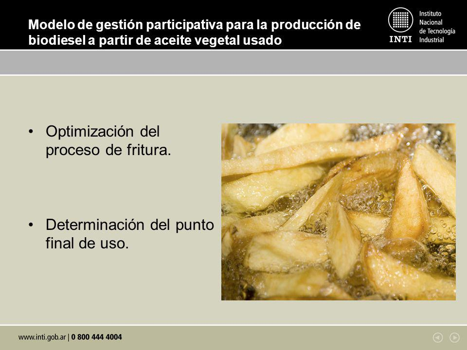 Modelo de gestión participativa para la producción de biodiesel a partir de aceite vegetal usado Optimización del proceso de fritura. Determinación de