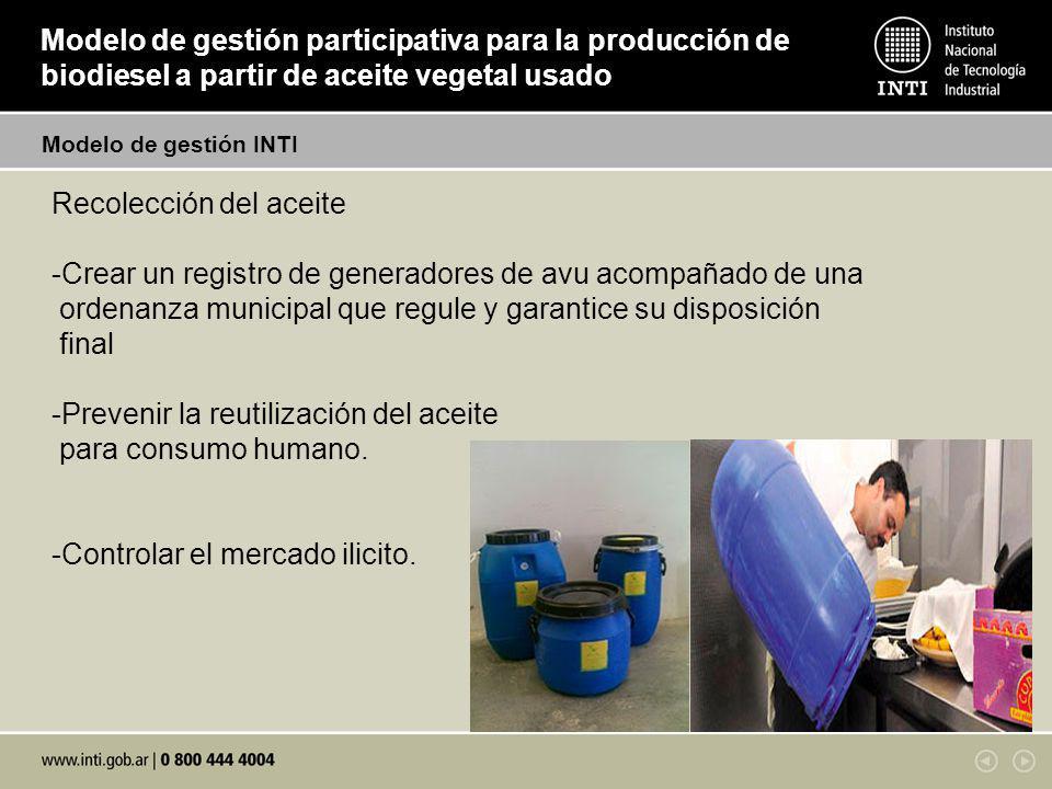 Modelo de gestión participativa para la producción de biodiesel a partir de aceite vegetal usado Recolección del aceite -Crear un registro de generado