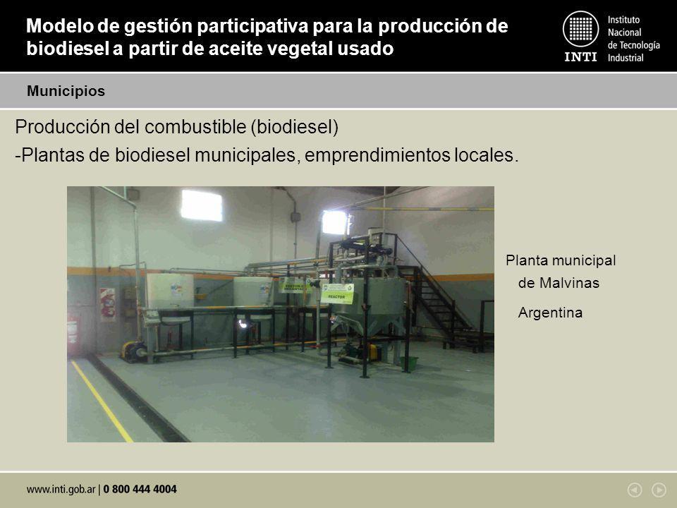 Modelo de gestión participativa para la producción de biodiesel a partir de aceite vegetal usado Producción del combustible (biodiesel) -Plantas de biodiesel municipales, emprendimientos locales.