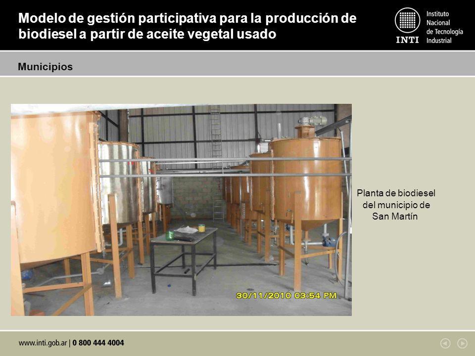Planta de biodiesel del municipio de San Martín Modelo de gestión participativa para la producción de biodiesel a partir de aceite vegetal usado Municipios