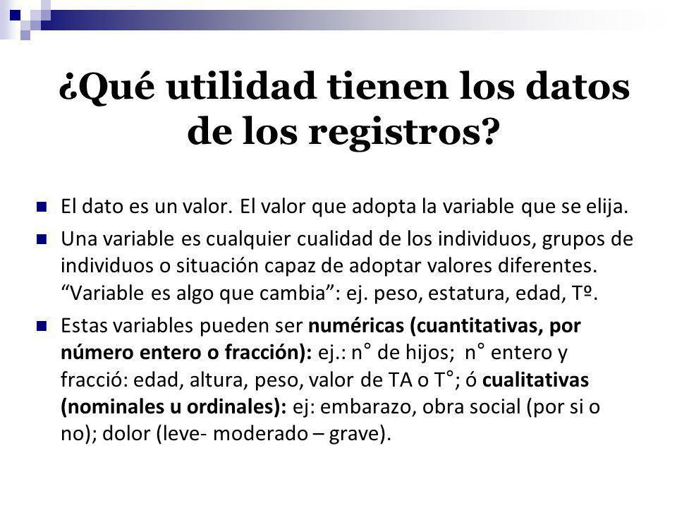 ¿Qué utilidad tienen los datos de los registros? El dato es un valor. El valor que adopta la variable que se elija. Una variable es cualquier cualidad