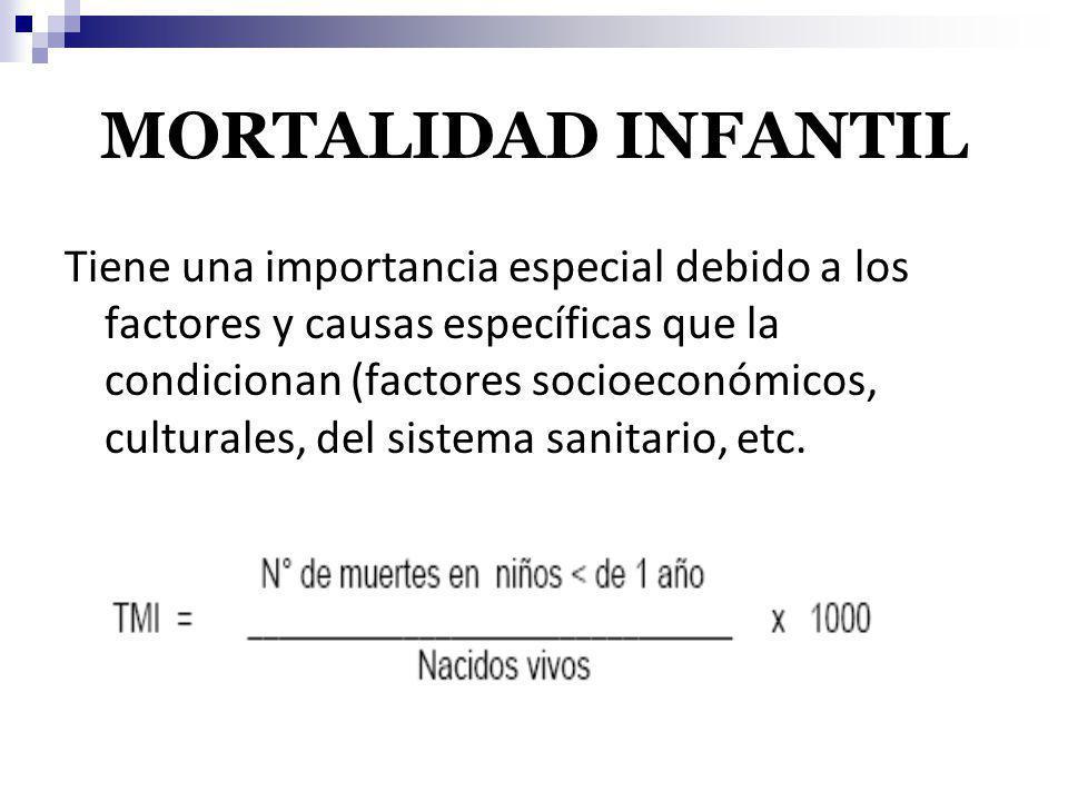 MORTALIDAD INFANTIL Tiene una importancia especial debido a los factores y causas específicas que la condicionan (factores socioeconómicos, culturales