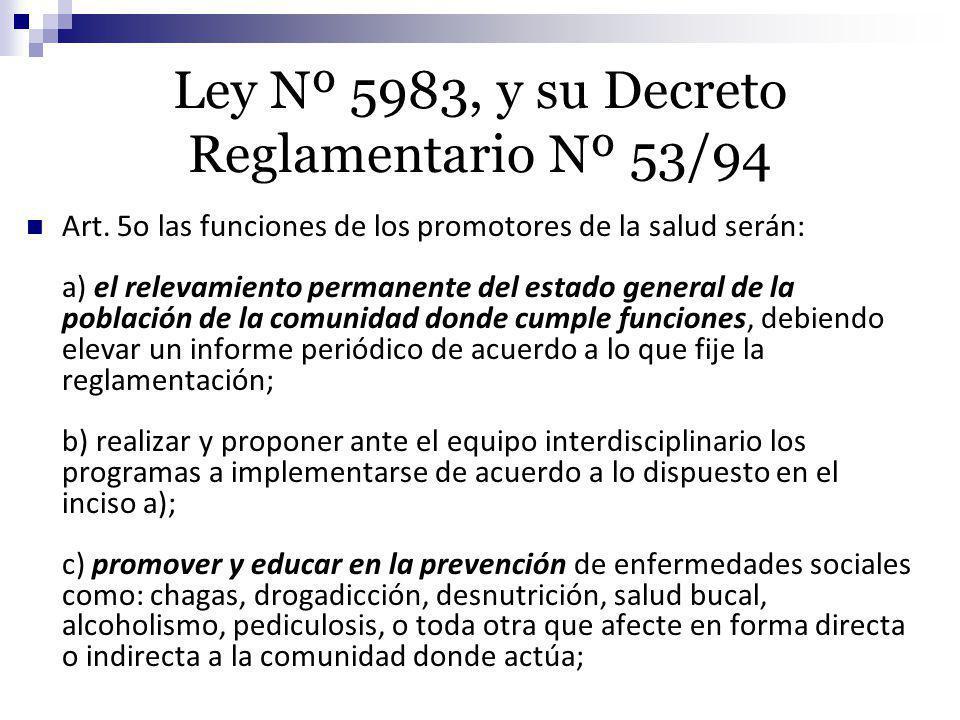 Ley Nº 5983, y su Decreto Reglamentario Nº 53/94 Art. 5o las funciones de los promotores de la salud serán: a) el relevamiento permanente del estado g
