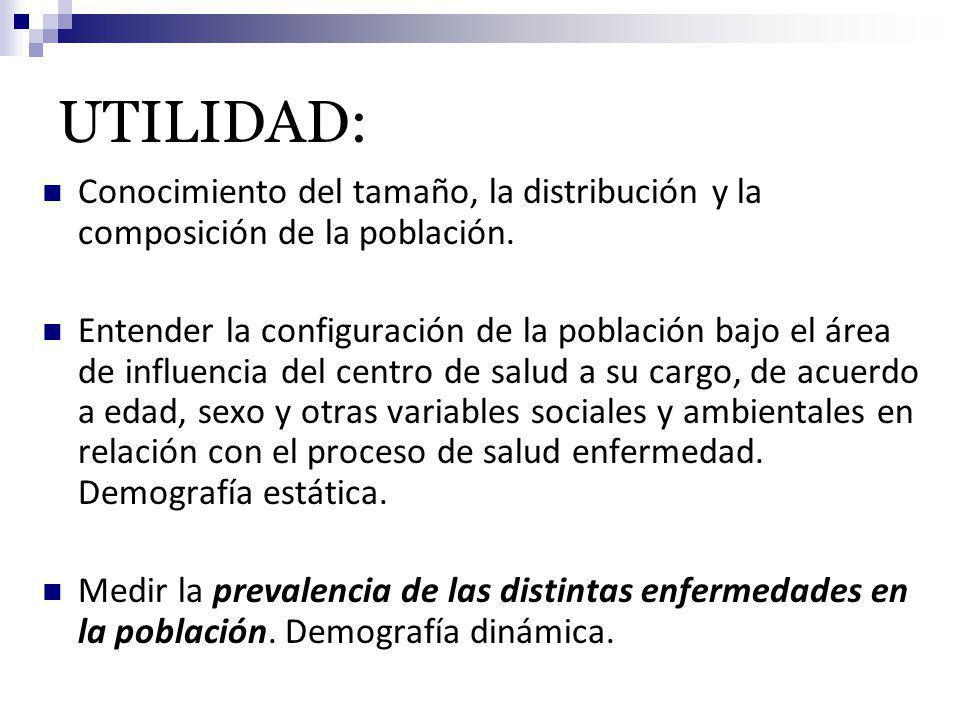 UTILIDAD: Conocimiento del tamaño, la distribución y la composición de la población. Entender la configuración de la población bajo el área de influen