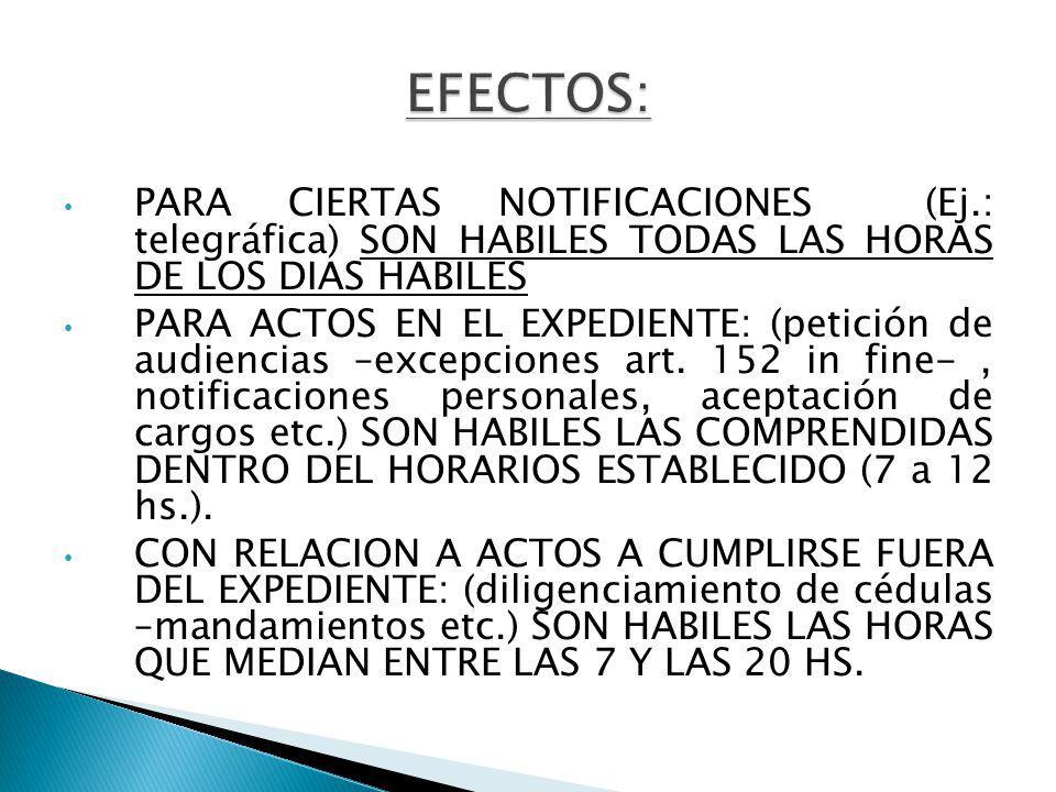 PARA CIERTAS NOTIFICACIONES (Ej.: telegráfica) SON HABILES TODAS LAS HORAS DE LOS DIAS HABILES PARA ACTOS EN EL EXPEDIENTE: (petición de audiencias –excepciones art.