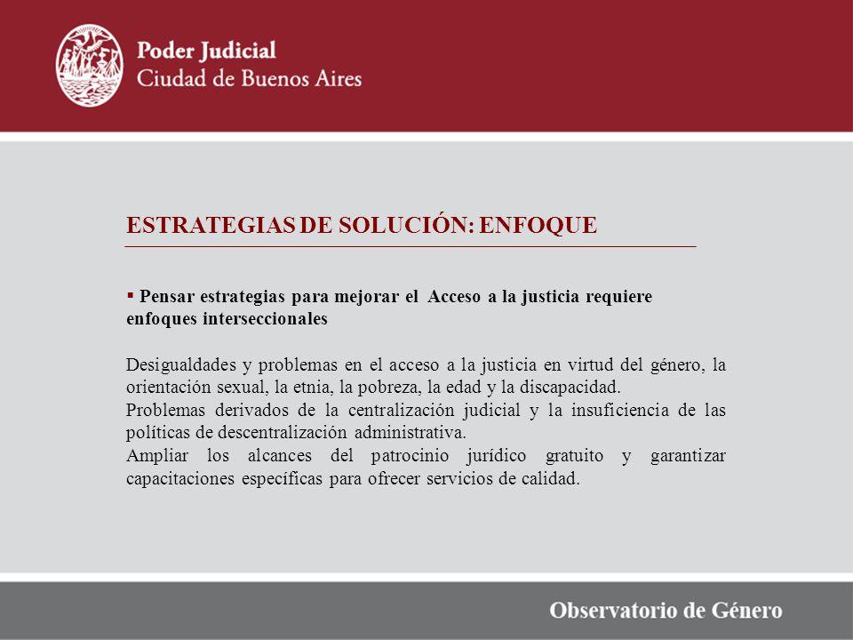 ESTRATEGIAS DE SOLUCIÓN: ENFOQUE Pensar estrategias para mejorar el Acceso a la justicia requiere enfoques interseccionales Desigualdades y problemas