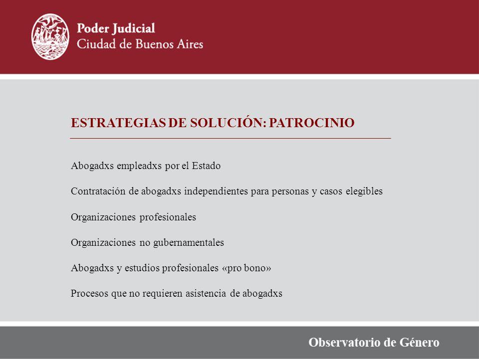 ESTRATEGIAS DE SOLUCIÓN: PATROCINIO Abogadxs empleadxs por el Estado Contratación de abogadxs independientes para personas y casos elegibles Organizac