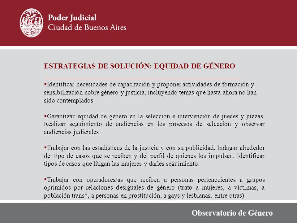 ESTRATEGIAS DE SOLUCIÓN: EQUIDAD DE GÉNERO Identificar necesidades de capacitación y proponer actividades de formación y sensibilización sobre género