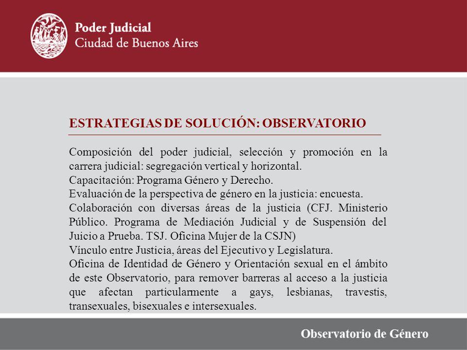 ESTRATEGIAS DE SOLUCIÓN: OBSERVATORIO Composición del poder judicial, selección y promoción en la carrera judicial: segregación vertical y horizontal.