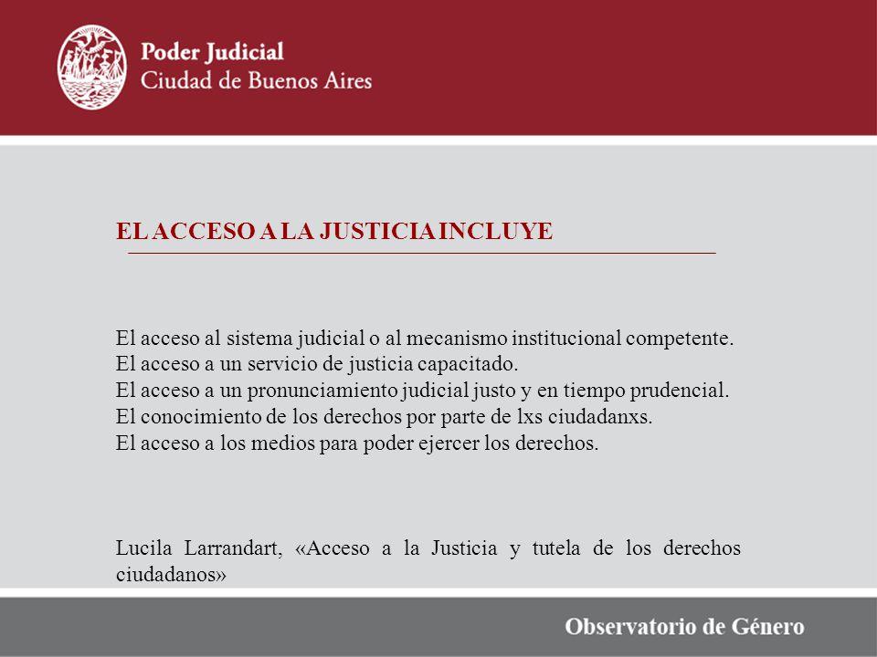 EL ACCESO A LA JUSTICIA INCLUYE El acceso al sistema judicial o al mecanismo institucional competente. El acceso a un servicio de justicia capacitado.