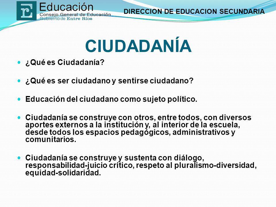 DIRECCION DE EDUCACION SECUNDARIA CIUDADANÍA ¿Qué es Ciudadanía? ¿Qué es ser ciudadano y sentirse ciudadano? Educación del ciudadano como sujeto polít