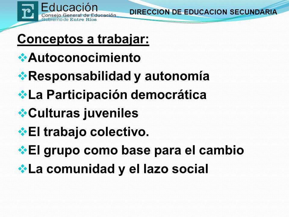 DIRECCION DE EDUCACION SECUNDARIA Conceptos a trabajar: Autoconocimiento Responsabilidad y autonomía La Participación democrática Culturas juveniles E