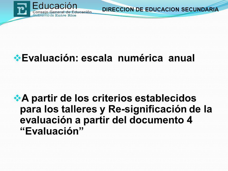 DIRECCION DE EDUCACION SECUNDARIA Evaluación: escala numérica anual A partir de los criterios establecidos para los talleres y Re-significación de la