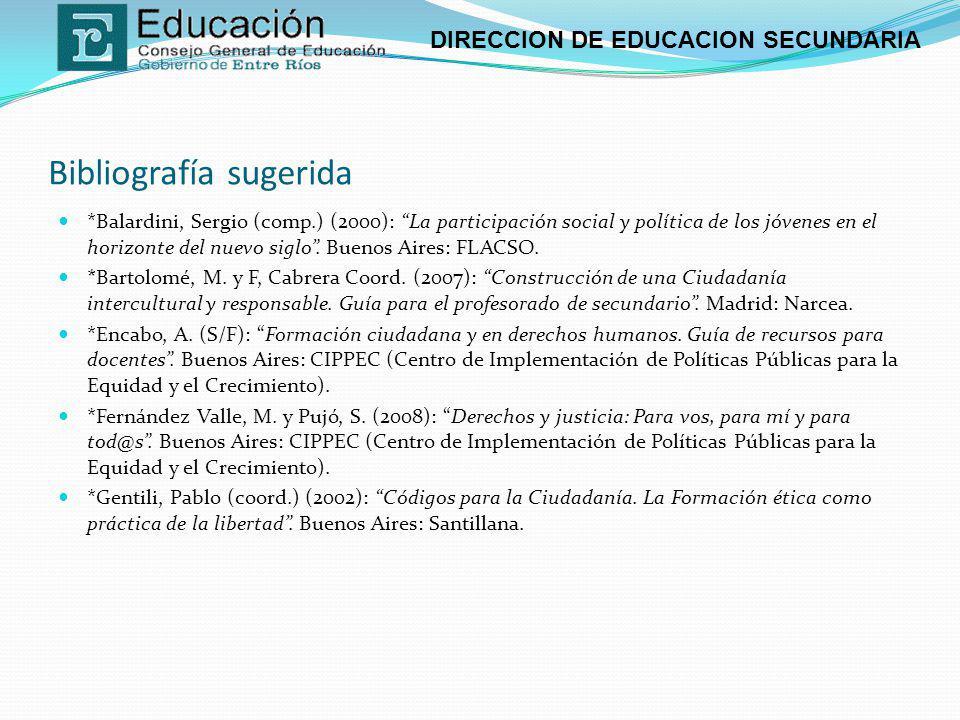 DIRECCION DE EDUCACION SECUNDARIA Bibliografía sugerida *Balardini, Sergio (comp.) (2000): La participación social y política de los jóvenes en el hor