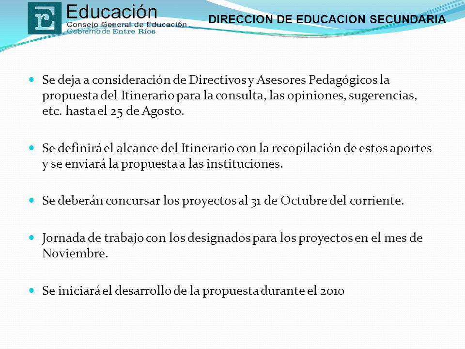 DIRECCION DE EDUCACION SECUNDARIA Se deja a consideración de Directivos y Asesores Pedagógicos la propuesta del Itinerario para la consulta, las opini
