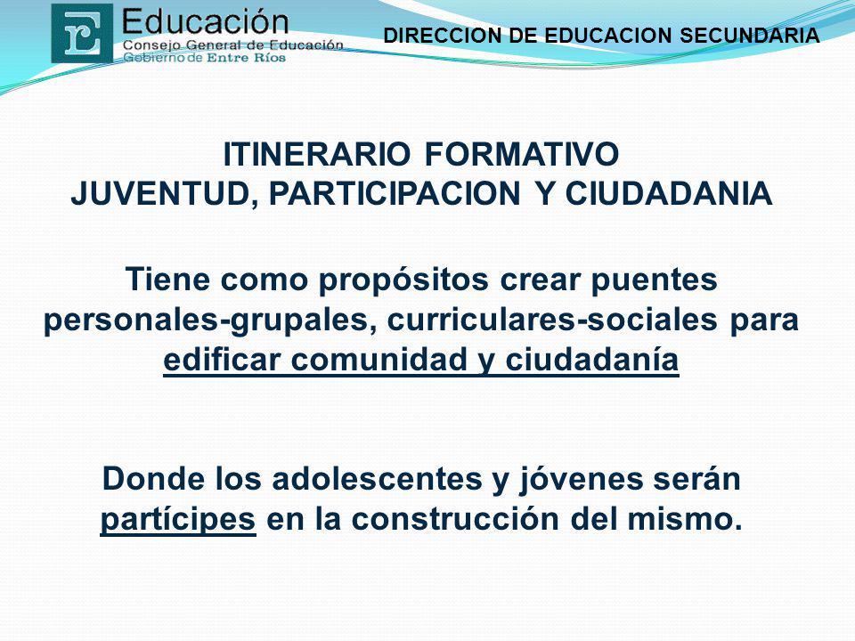 DIRECCION DE EDUCACION SECUNDARIA ITINERARIO FORMATIVO JUVENTUD, PARTICIPACION Y CIUDADANIA Tiene como propósitos crear puentes personales-grupales, c