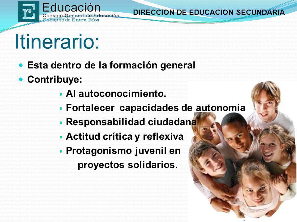 DIRECCION DE EDUCACION SECUNDARIA Conceptos a trabajar: Autoconocimiento Responsabilidad y autonomía La Participación democrática Culturas juveniles El trabajo colectivo.