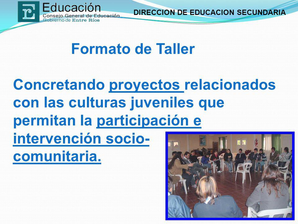 DIRECCION DE EDUCACION SECUNDARIA Formato de Taller Concretando proyectos relacionados con las culturas juveniles que permitan la participación e inte