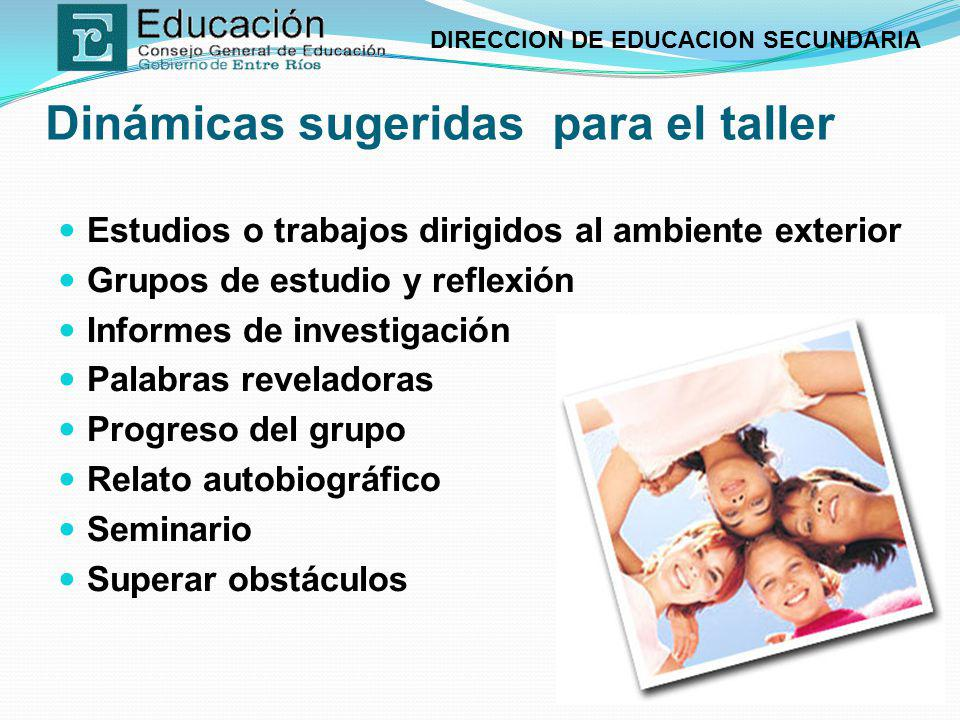 DIRECCION DE EDUCACION SECUNDARIA Dinámicas sugeridas para el taller Estudios o trabajos dirigidos al ambiente exterior Grupos de estudio y reflexión