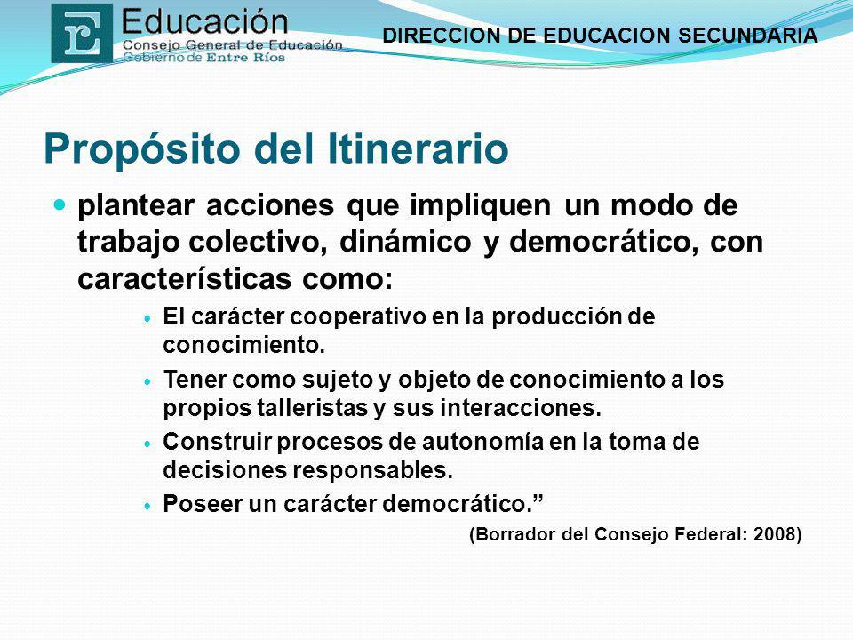 DIRECCION DE EDUCACION SECUNDARIA Propósito del Itinerario plantear acciones que impliquen un modo de trabajo colectivo, dinámico y democrático, con c
