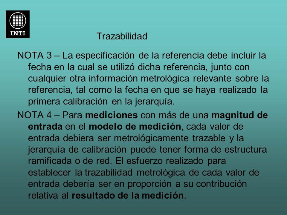 Trazabilidad NOTA 3 – La especificación de la referencia debe incluir la fecha en la cual se utilizó dicha referencia, junto con cualquier otra inform