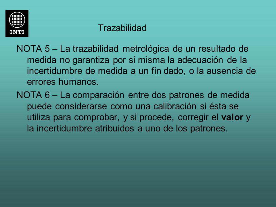 Trazabilidad NOTA 5 – La trazabilidad metrológica de un resultado de medida no garantiza por si misma la adecuación de la incertidumbre de medida a un