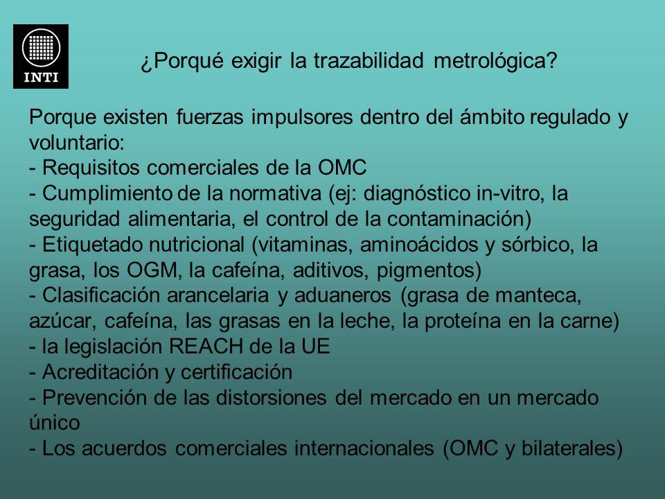 ¿Porqué exigir la trazabilidad metrológica? Porque existen fuerzas impulsores dentro del ámbito regulado y voluntario: - Requisitos comerciales de la