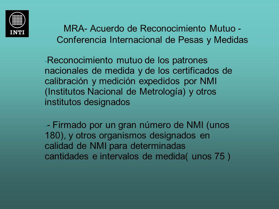 MRA- Acuerdo de Reconocimiento Mutuo - Conferencia Internacional de Pesas y Medidas - Reconocimiento mutuo de los patrones nacionales de medida y de l