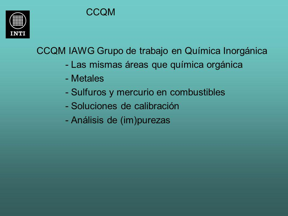 CCQM CCQM IAWG Grupo de trabajo en Química Inorgánica - Las mismas áreas que química orgánica - Metales - Sulfuros y mercurio en combustibles - Soluci