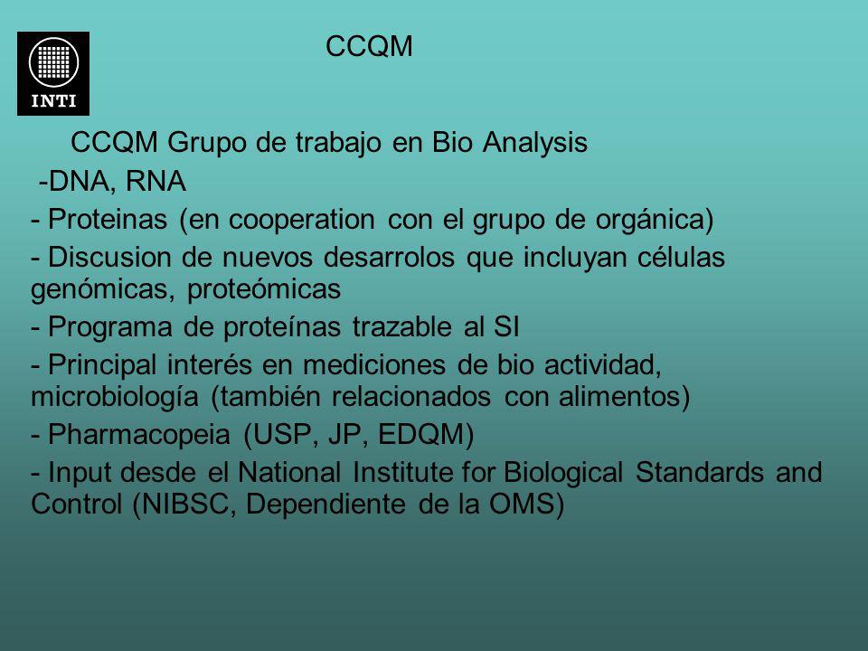 CCQM CCQM Grupo de trabajo en Bio Analysis -DNA, RNA - Proteinas (en cooperation con el grupo de orgánica) - Discusion de nuevos desarrolos que incluy