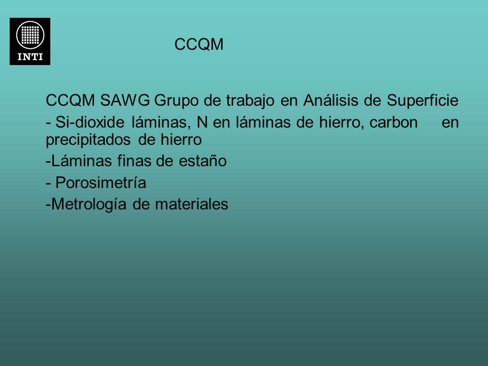 CCQM CCQM SAWG Grupo de trabajo en Análisis de Superficie - Si-dioxide láminas, N en láminas de hierro, carbon en precipitados de hierro -Láminas fina