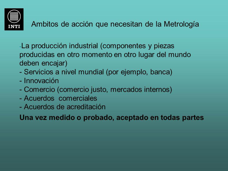 Ambitos de acción que necesitan de la Metrología - La producción industrial (componentes y piezas producidas en otro momento en otro lugar del mundo d
